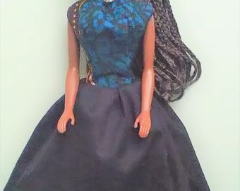 Handmade Barbie gown, Ankara doll clothing, dress for 60s Barbie, doll not included