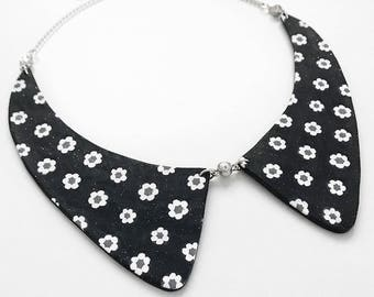 Flower print collar necklace with rhinestone elements and white enamel upcycled Monet chain - inspired by Nina Garcia