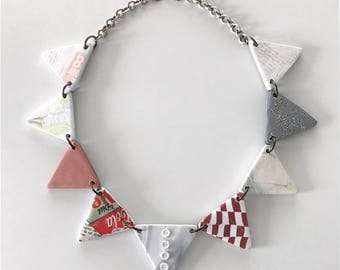 Handmade mixed media triangle necklace - polymer clay, buttons, newspaper, and micro beads