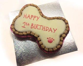 Dog Birthday Cake Large Bone Shaped Cake