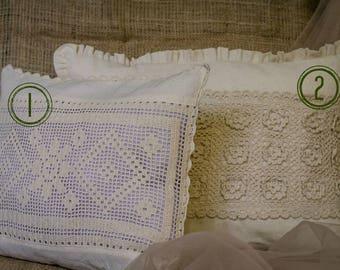 Crochet Pillow Set of 2. Lace Pillow Set. Decorative Throw Pillow set. Handmade pillows set of 2. Home decor pillows. Boho Chic pillows.
