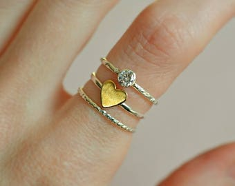 Stacking rings, set of 3, stackable rings, diamond CZ ring, heart ring, twist ring, thin rings, skinny rings, mixed metal stacking rings