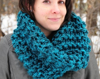 Outlander cowl, Hand knit cowl, teal tweed cowl, snood scarf, gift for her, Christmas gift, Birthday gift, accessories