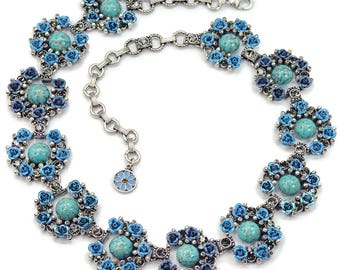 Turquoise Roses Collar Necklace, Turquoise Jewelry, Aqua Blue, Silver Statement Necklace, Vintage Necklace, Flower Jewelry N283