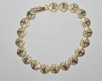 Vintage 14K Gold Sand Dollar Bracelet - 14Kt Yellow Gold Sand Dollar Bracelet - 14K Beach - 14K Ocean - 14K Nautical - Shell - Seashell