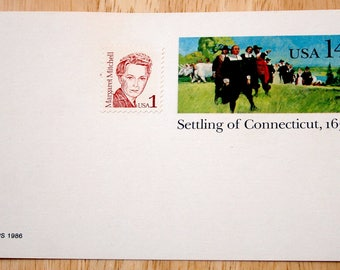 Mint USPS Stamped Postcards--Scott #UX104--Settling Of Connecticut, 1636--14c--Margaret Mitchell--Scott #2168--1c--1986--Shipping Included
