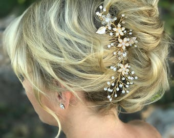 Delicate Hair Comb, Pearl Rhinestone Hair Comb, Classic Wedding Hair Accessory, Gold Hair Comb, Bridesmaid Hair Accessory