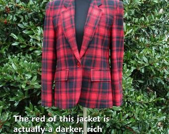 PLAID PENDLETON BLAZER, Vintage Wool Blazer, Vintage Plaid Jacket, preppy blazer, 80s retro clueless jacket, Black Red Tartan plaid coat, S