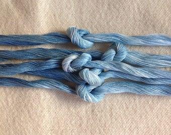 1 skein of size 12 indigo dyed perle cotton