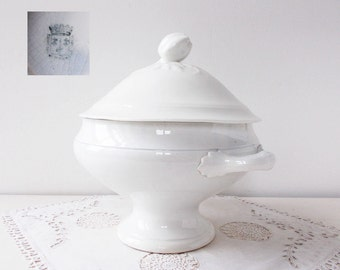 Antique French Tureen White Ironstone with Leaf Decoration and Quince Fruit on Lid