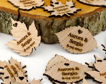 Personalised Wooden Leaf Table Decorations. Bespoke Rustic or Vintage Wedding Favours. Any Message Engraved in Any Font. Free UK Delivery.