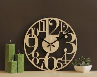 large numbers clock large wall clock rustic wall decor laser cut clock