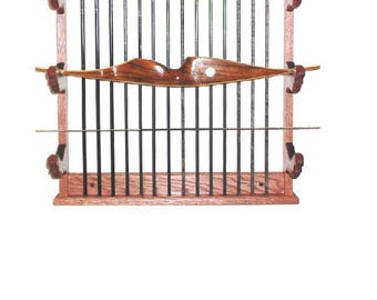 Oak Bow Rack & Arrows Archery Compound or Recurve Wall Display