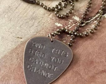 Guitar pick personalized ball chain necklace lyric necklace boyfriend necklace dad necklace teen boy gift guitarist gift mens necklace