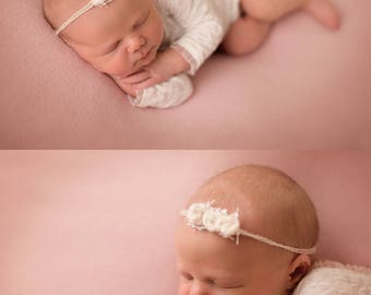 Set of Neutral Petite Mini Rosettes, Neutral Headband, Newborn Photography Prop, Tieback