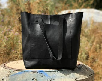 Sale!!!  Large leather market bag, Leather shopper bag, Leather tote bag, Custom leather purse, Monogramed leather bag Handmade tote bag
