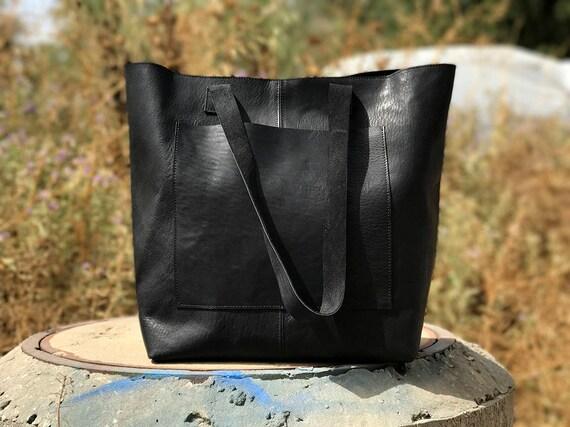 Sale Large leather market bag Leather shopper bag