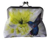White Chrysanthemum Flower and Blue Hummingbird Satin Silver Tone Clasp Frame Clasp Clutch Purse Evening Bag