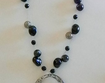 Multi Strand Floating Invisible Silver Tone Black Beaded Necklace W Pendant