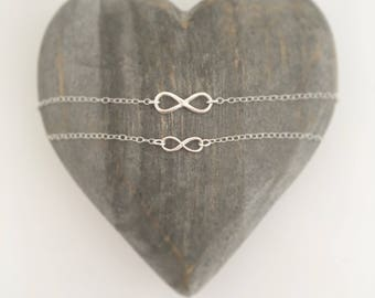 Infinity necklace, Sterling silver mother and daughter necklace set, girlfriend gift, Valentines gift, Galentines gift, flower girl gift