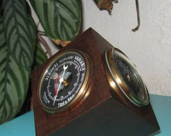 Office Barometer, Mid Century Weather Station, French 1960's, Vintage