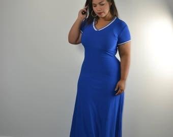 1990s Express Tricot Royal Blue Maxi Dress Sporty Dress S