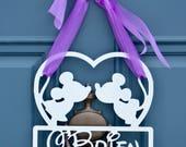 Mickey Minnie Mouse Door Wall Decoration , Personalized Mickey Minnie Plaque , Monogram Decor  , Monogram Door Hanger , Wreath Obsessed