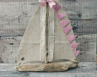 DRIFTWOOD SAILBOAT, Driftwood Boat, Driftwood, Yacht, Wooden Boat, Driftwood Art, Reclaimed Wood, Recycled Wood Art, Pink Decor, Wooden Gift