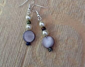 Pearl earrings. ladies earring. ladies giftware, mother of pearl , pearls and beads, silver findings, drop earrings,  Christmas presents