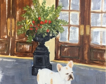 "Original Oil Painting French Bulldog  ""Beignet""  11 x 14.  ***Free Shipping!***"