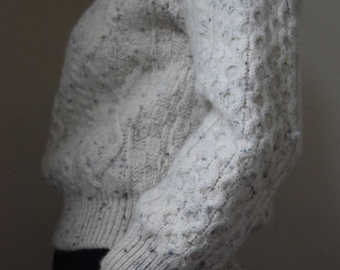 Chunky Pebbled Cable Knit Wool Sweater