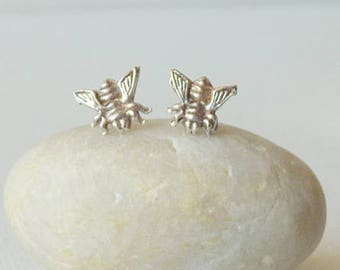 Sterling Silver Bee Earrings, Silver Honey Bee Stud Earrings, Minimalist Earrings 80's  925 Pierced Jewelry Vintage Bug Pierced Earrings 925