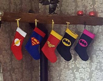 Superhero Christmas Stocking Wonder Woman The Flash Superman Batman Captain America Batgirl Hanging Decoration