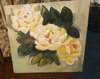 Three Yellow Roses,  painting 8x8 original on canvas panel
