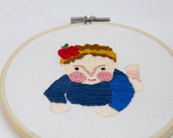 Embroidered illustration of a baby | Hand stitched
