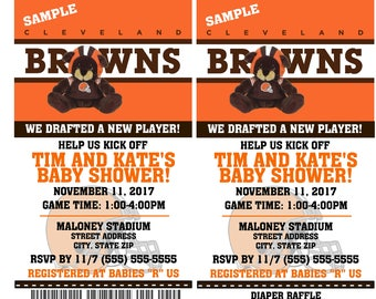 Printable Baby Shower or First Birthday Party Invitations Cleveland Browns Birthday Ticket Invitation Football 1st Birthday Diaper Raffle
