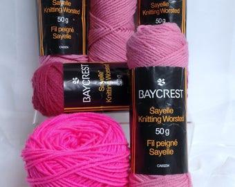 Ombre Pink Yarn Bundle, Hudson Bay Baycrest Sayelle Knitting Acrylic Worsted Yarn Destash, 6 Skeins of 3 Shades of Pink Yarn for Knitting