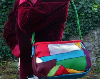 Bespoke Multi-Coloured Patchwork Leather Handbag/Shoulder-Bag