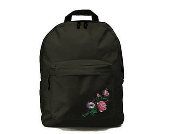 Black backpack with Flower patch 33x41x19cm