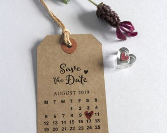 Save the Date Calendar. UK rubber stamp. Wedding invitation. Personalised