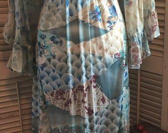 Vintage Bell Sleeve Maxi Dress~ Oriental Pattern, Vintage Fashion, Empire Waist, BoHo Fashion, Vintage BoHo, Hippy Dress,60's Fashion,