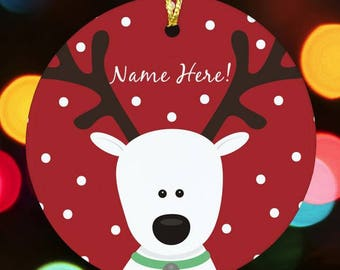 Reindeer Personalized Christmas Ornament, Reindeer Ornament, Reindeer Ornament with Name