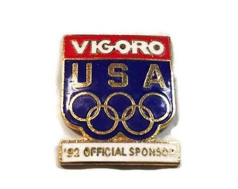 1992 Olympics Vigoro Sponsor Enamel Pinback USA Olympic Rings Lapel Pin Red White Blue Tie Tack Hat Pin