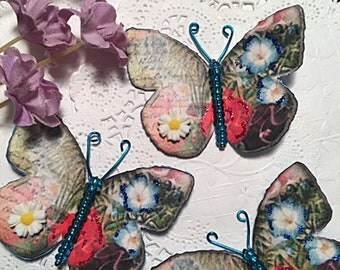 Primrose Blues 3D Daisy & Blue Glass Bodied Butterflies DarlingArtByValeri Scrapbooking Embellishments Mini Albums Card Making Gifts