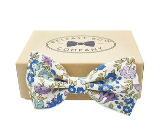 Handmade Floral Bow Tie in Liberty - English Garden - Lilac Blue Aqua Green - Adult & Junior sizes available