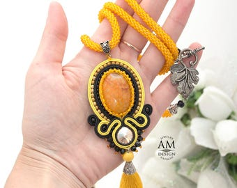Yellow Tassel Necklace Long Boho Necklace Agate Stone Black Bead Soutache Jewelry