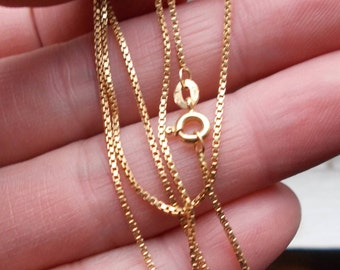 Solid 18k yellow gold box chain 17 2/3 inches