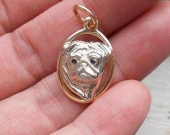 Solid 14k yellow and white gold genuine blue sapphire English Bulldog pug dog pendant