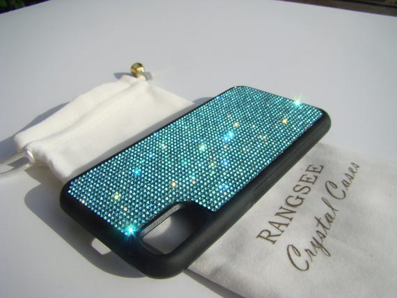 iPhone X Case , Aquamarine Blue Rhinestone Crystals on Black Rubber Case. Velvet/Silk Pouch Bag Included, .
