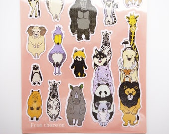Japanese animal stickers, zoo stickers, red panda stickers, kawaii stickers, cute planner stickers safari stickers zoo animals penguin sloth